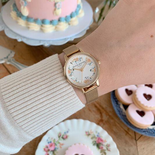 Tea Party Midi Dial Gold Mesh Watch