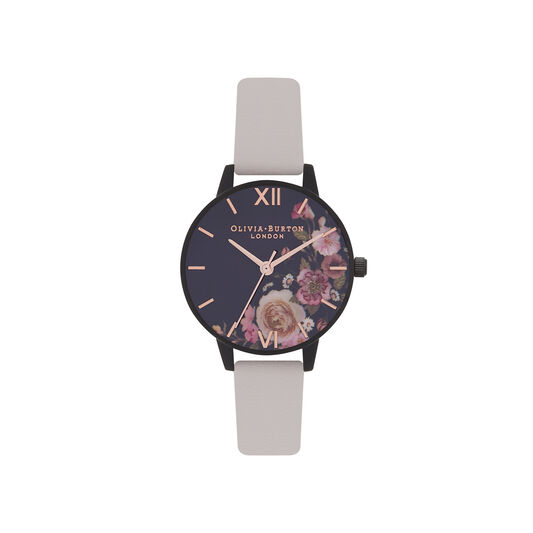 Olivia Burton After Dark Marble Floral Black & Rose Gold Watch