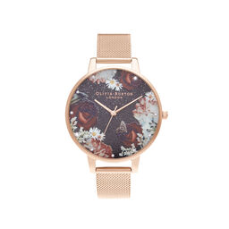 Winter Blooms Big Dial Rose Gold Mesh Watch