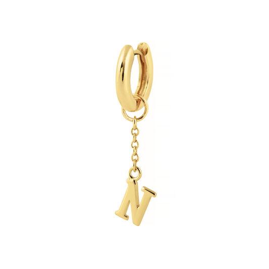 N Alphabet Huggie Charm Gold