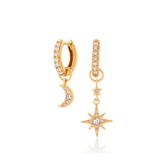 Moon & Star Gold Huggie Hoops