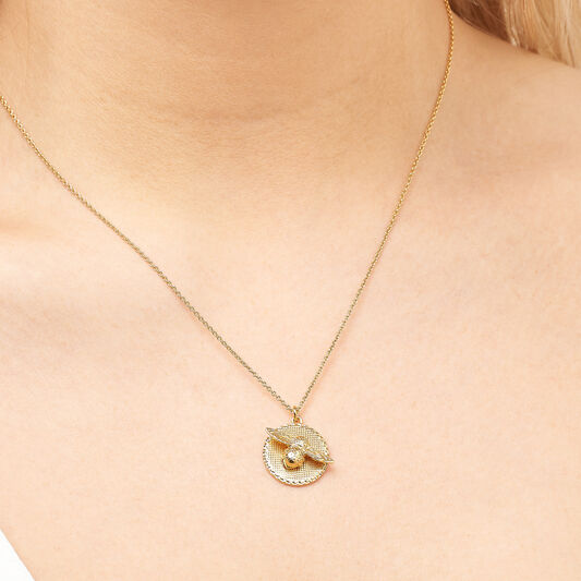 3D Bee & Coin Necklace Gold