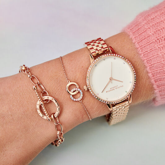 Rainbow Bezel & Rose Gold Bracelet
