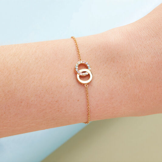 Bejewelled Classics Rainbow Interlink Chain Bracelet Gold