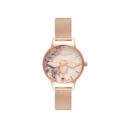 Watercolour Florals Rose Gold Mesh