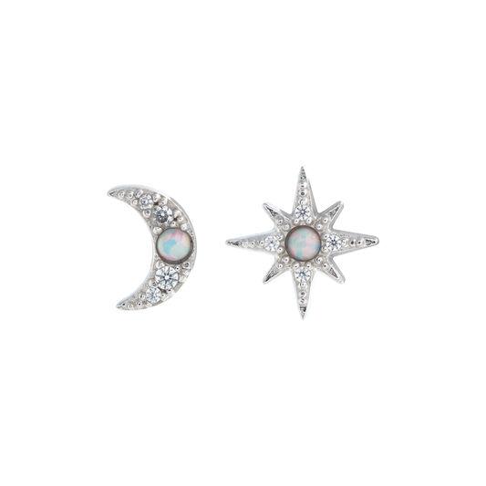 North Star & Moon Opal, Silver Stud Earrings