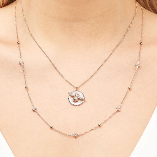 3D Bee & Coin Necklace Rose Gold