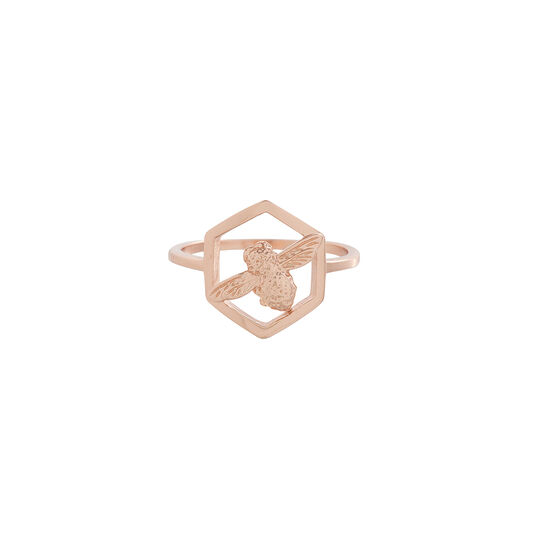 Honeycomb Bee Ring Rose Gold