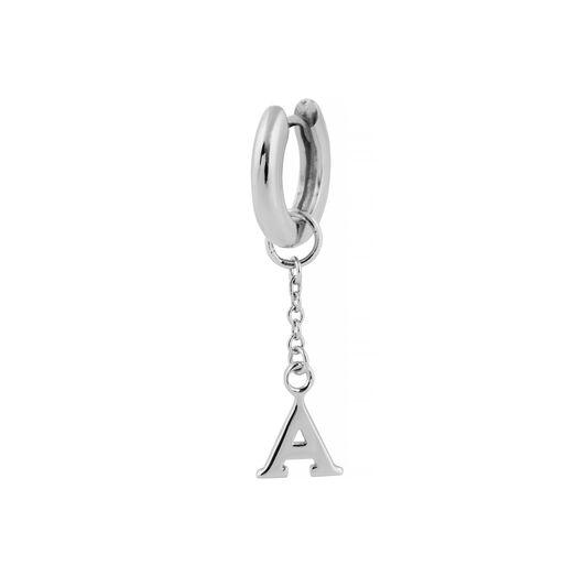 A Alphabet Huggie Charm Silver