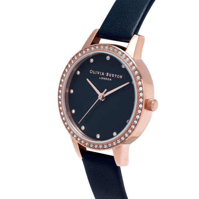 Midi Navy Mother Of Pearl Sparkle Bezel, Rose Gold & Navy Watch