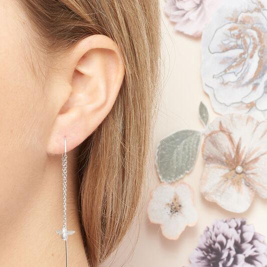 3D Bee Threader Earrings Silver