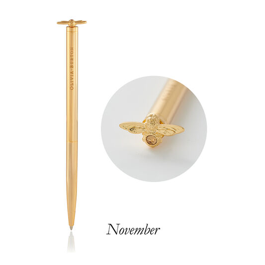 Celebration Bee Pen Light Topaz Crystal & Gold Nov