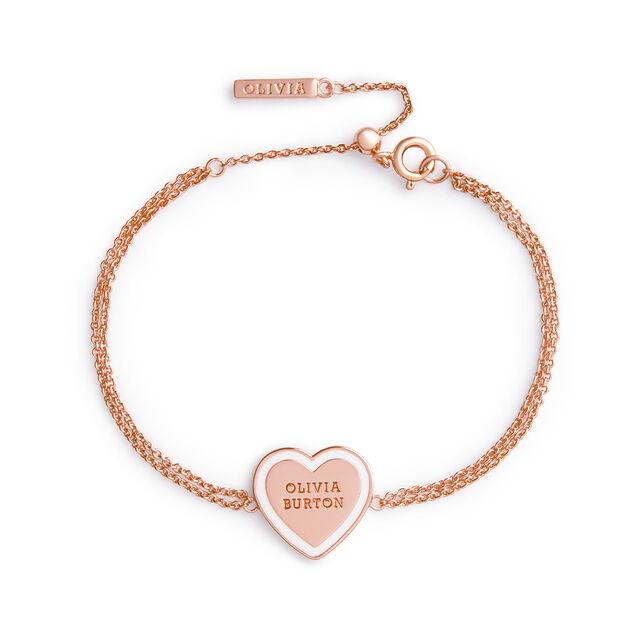 Sweet Heart Rose Gold & White Enamel Bracelet