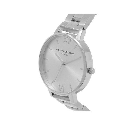 Big Dial Bracelet Silver Watch