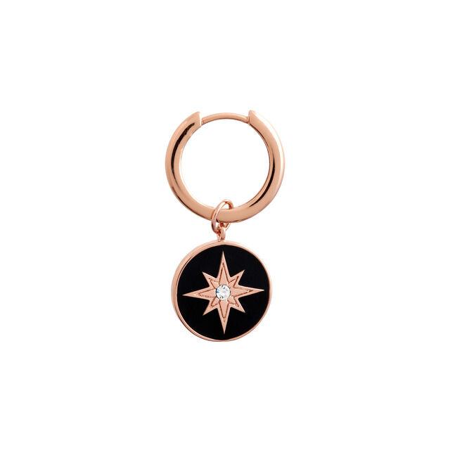 North Star Enamel Black & Rose Gold Huggies