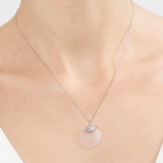 Semi Precious Necklace Silver & Rose Quartz