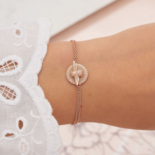 3D Bee & Coin Chain Bracelet Rose Gold