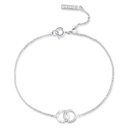 Bejewelled Interlink Chain Bracelet Silver