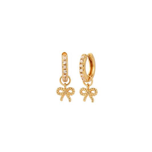 Vintage Bow Huggie Hoop Gold & White Topaz Earrings