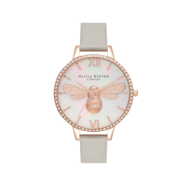 Lucky Bee Demi Dial Grey & Rose Gold Watch