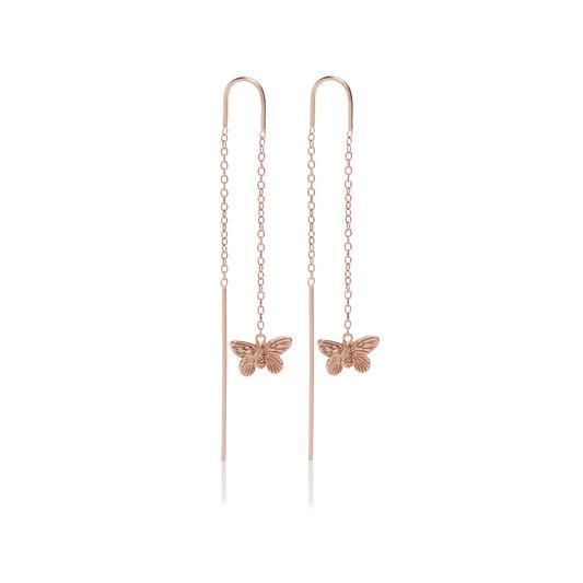 3D Butterfly Threader Earrings Rose Gold