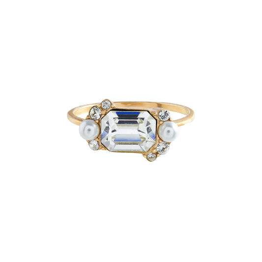Clear Stone & Pearl Gold Cocktail Ring