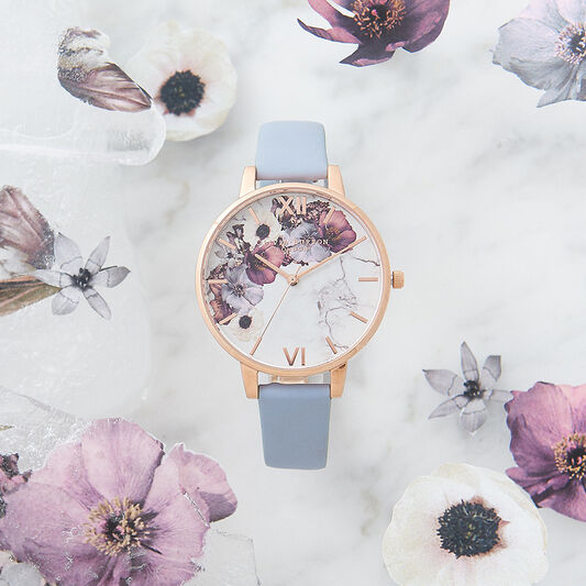 Marble Floral Chalk Blue & Rose Gold