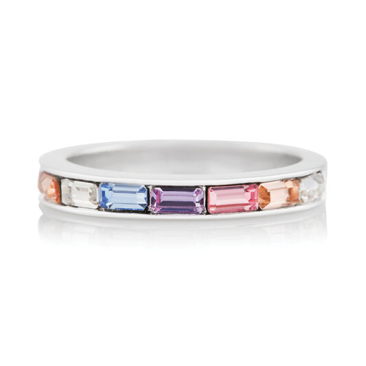 Rainbow Baguette Ring Silver (M)