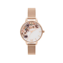 Watercolour Florals Pale Rose Gold Mesh