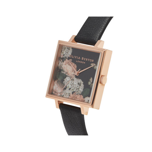 Olivia Burton Signature Floral Big Square Dial Black & Rose Gold Watch