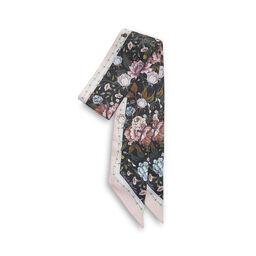 Signature Floral Skinny Silk Scarf Black