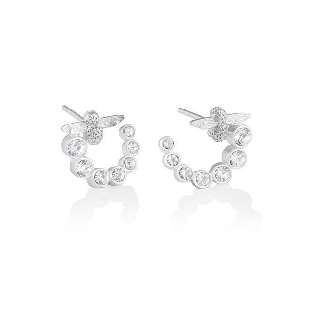 Bejewelled Bee Swirl Hoop Earrings Silver