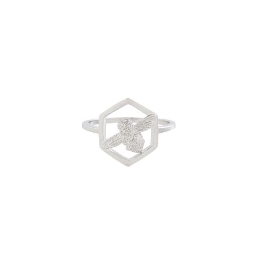 Honeycomb Bee Ring Silver