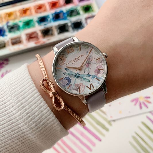 Dragonfly Thin Case Silver & Parma Violet Watch