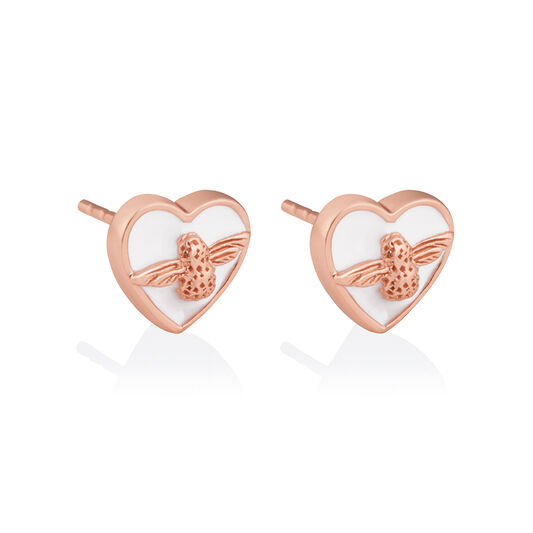 Love Bug Studs White & Rose Gold