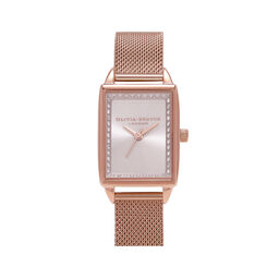 Classic Sparkle Tank Rose Gold Mesh Watch