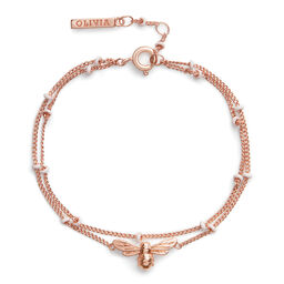 Lucky Bee Chain Bracelet with Pearl Rose Gold