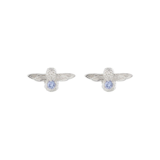 3D Bee Stud Earrings Silver with Tanzanite Gemstone