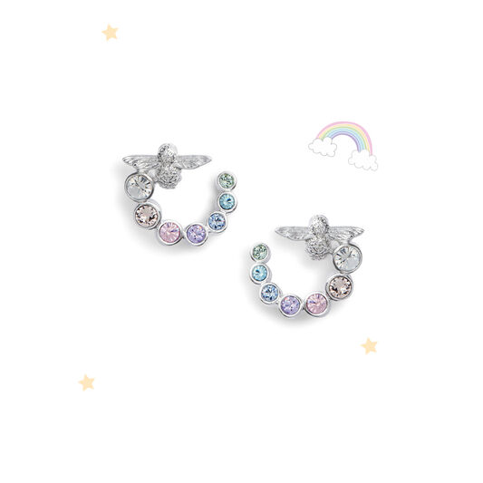 Rainbow Bee Swirl Hoop Earrings Silver