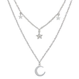 Celestial Double Cresent Moon and Star Necklace Silver