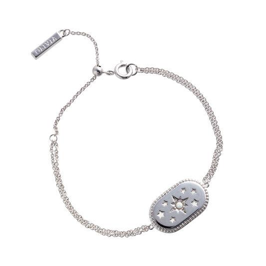 North Star Oval Opal & Silver Bracelet