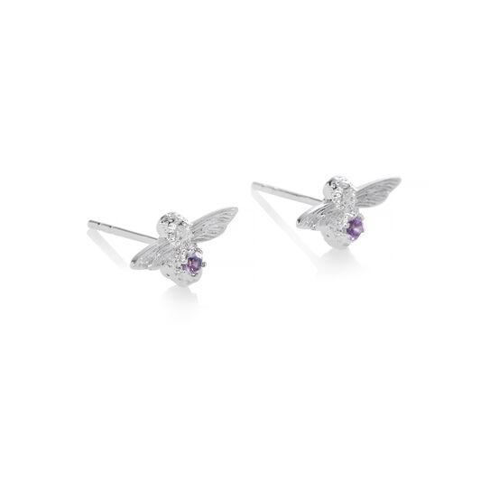 Bejewelled Bee Bracelet and Earrings Gift Set Sterling Silver & Amethyst