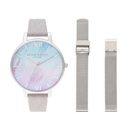 Ombre Mother Of Pearl Dial  Watch with Lilac Glitter Strap & Silver Mesh Strap Set