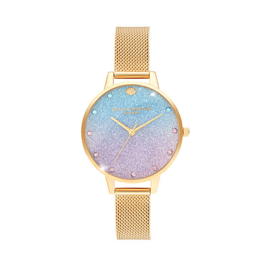 Glitter Ombre Demi Dial Sparkle Markers Gold Mesh Watch