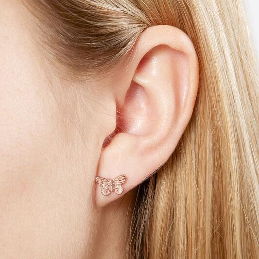 3D Butterfly Stud Earrings Rose Gold