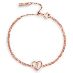 'J' Heart Initial Chain Bracelet Rose Gold