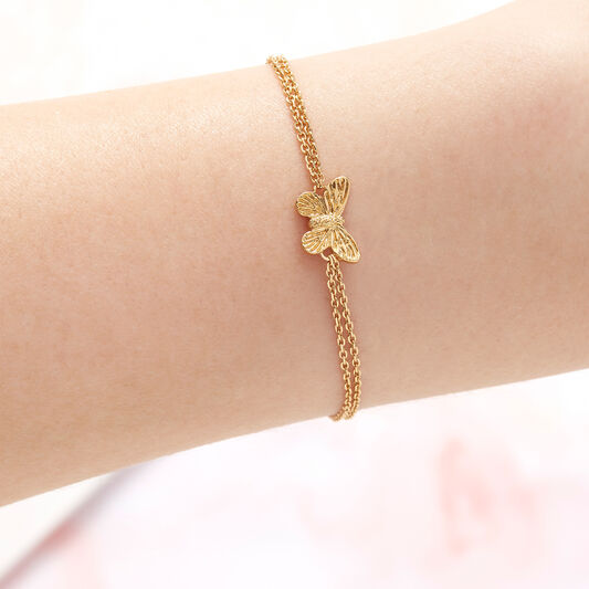 3D Butterfly Chain Bracelet Gold