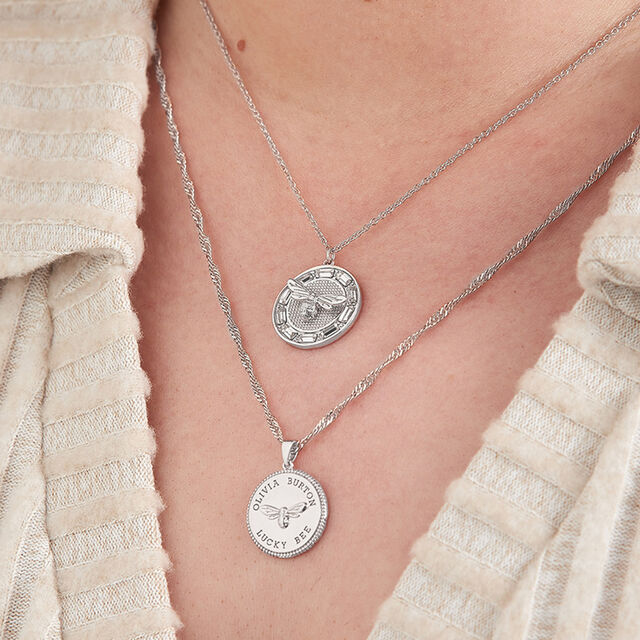 Lucky Bee Stone Set Silver Pendant Necklace