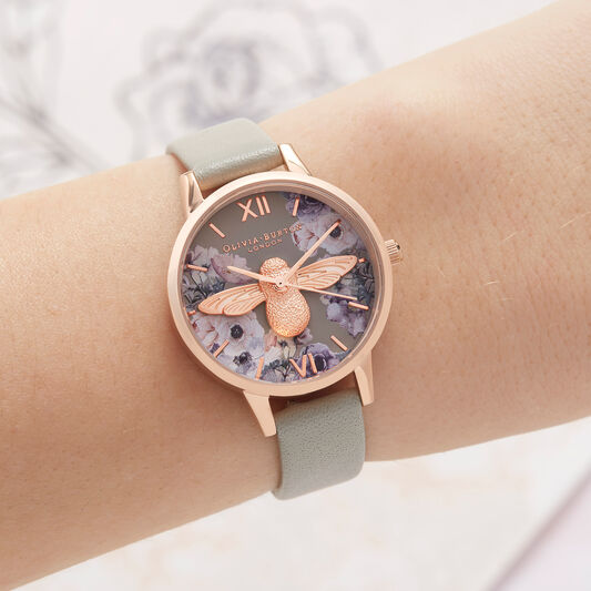 Watercolour Florals Grey & Rose Gold