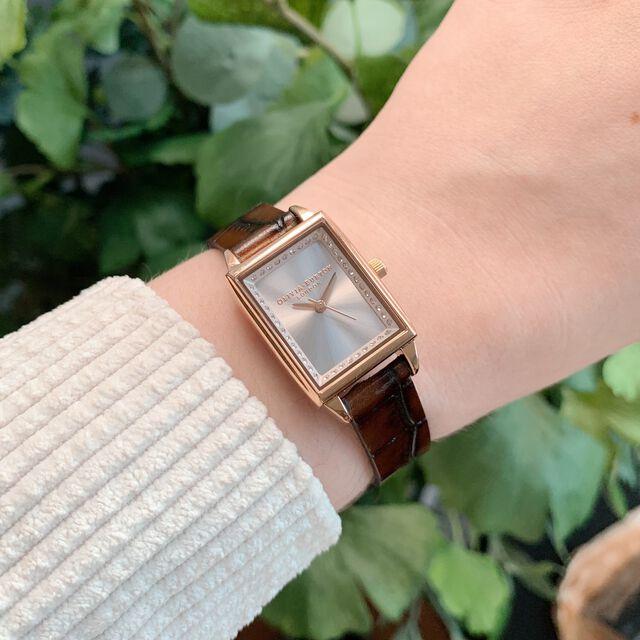 Rose Gold Bezel Dial, Brown Croc & Rose Gold Watch